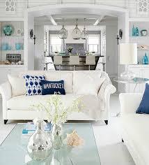 coastal living room design. White Nautical Coastal Cottage Living Room Design
