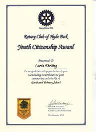 Rotary Club Of Hyde Park Citizenship Award Rotary Club Of