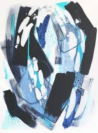 blue original acrylic art on deep gallery wrapped canvas abstract painting 18 x 24 inches