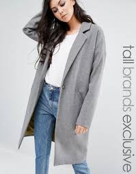 noisy may tall oversized pea coat grey women coats noisy may indigo tall denim jacket competitive