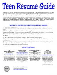 Cover Letter Resume Templates Teenager Free Teenager Resume