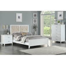 AMBHome F9427F 3 pc white finish wood upholstered panel bed full ...