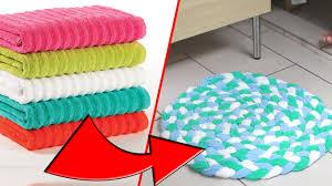 Diy Rug Diy Towel Bathmat Rug Recycle Old Towels Youtube