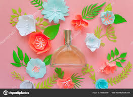 Paper Flower Perfume Flower Arrangement Flowers Fragrance Perfume Pink Background Cut