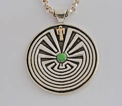 man in the maze pendant in gold and
