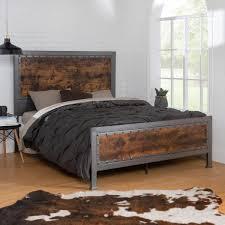 Walker Edison Furniture Company Queen Size Rustic Brown Industrial ...