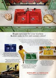 bold brightly colored kitchen sinks 60s 70s click americana