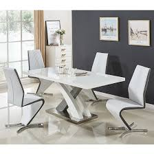 Amazing Axara Small Gloss Extendable Dining Table Set With 4 Gia Chairs_1