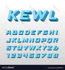 isometric font alphabet with 3d effect letters and vector image