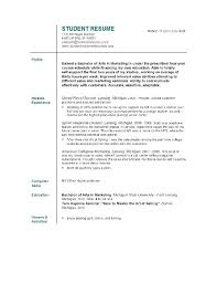Example Student Resume Mesmerizing Sample Resume For College Student Applying For Internship Feat