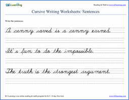 cursive word practice writing cursive sentences worksheets free and printable k5 learning