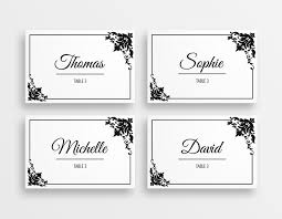table place cards. printable black and white wedding place cards table