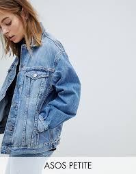 asos design petite denim girlfriend jacket in lightwash blue light wash blue blue 1145789 oskcpgc