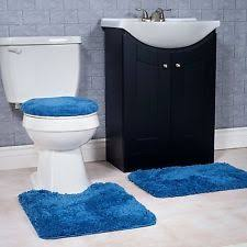 navy blue toilet seat cover. 3 soft piece bath rug mat set blue navy non slip for bathroom toilet seat cover
