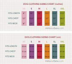 Dog Clothing Sizing Chart Mimi Tara