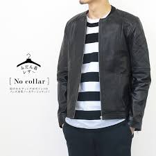 genuine leather everyday wear no collar jacket lamb leather black men leatherette jacket leather jacket kobe パティーナ n864