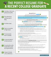 reasons this is an excellent resume for a recent college perfect resume for a recent college graduate graphic