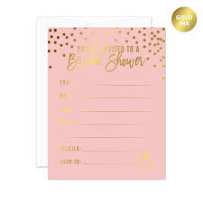Polka Dot Invitations Blush Pink And Metallic Gold Confetti Polka Dots Blank Bridal Shower Invitations With Envelopes 20 Pack