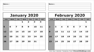 February 2020 Calendar Template Printable Print January February 2020 Calendar Template 2 Month Calendar
