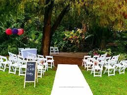 gorgeous wedding ceremony setup at brisbanes city botanic gardens Wedding Linen Brisbane gorgeous wedding ceremony setup at brisbanes city botanic gardens with an intimate curved chair set up Wedding Centerpieces