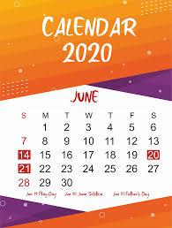 Free June 2020 Printable Calendar In Pdf Word Excel