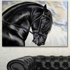 designart x27 friesian horse painting x27 extra large animal
