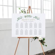 Seating Chart Wedding Greenery Wedding Seating Chart Template Printable Seating Chart Wedding Seating Plan Edite In Word And Pages
