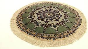 fine round persian rug nain kork wool with silk 90cm made in