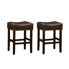 chocolate brown leather backless bar stool set of 2
