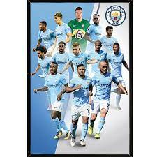 Man City Players 17/18 Poster with Choice of Frame (24x36) - Overstock -  20490826