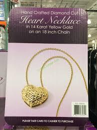 costco 1008645 14kt yellow gold diamond cut heart pendant box
