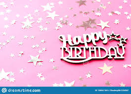 Wooden Inscription Happy Birthday On A Pink Background Stock