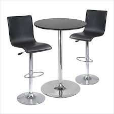 winsome black metal spectrum 3pc pub table set 28 round table with 2 l shape airlift stools