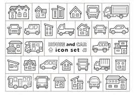 車と家のアイコンセット手書風線画のみ イラスト素材 5857427