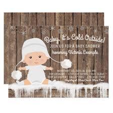 Snowflake Baby Shower Invitations Rustic Snowflake Baby Its Cold Outside Baby Shower Invitation