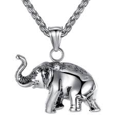 men s stainless steel large elephant pendant necklace