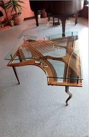 custom made repurposed piano harp table with custom glass on piano harp wall art with hand made repurposed piano harp table with custom glass by pianobox