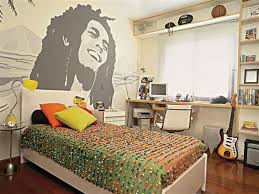 really cool bedrooms. Delighful Bedrooms Handsome Really Cool Bedroom For Boys Decoration Using Orange Green Floral  Bedsheet Including Bob Marley Wall Mural And Modern White Leather  To Bedrooms