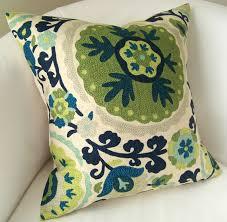 Etsy Throw Pillows Suzani Pillow Cover Blue Green Pillow Decorative Throw Pillow
