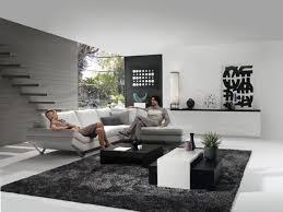 Fascinating Modern Black White Grey Living Room Decoration Using Modern  Concrete Living Room Wall Including Modern Furry Black Living Room Rug And  L Shape ...