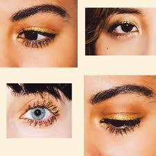 try the eye makeup equivalent of a jumpsuit a flashy yet simple one tone wash of gold across the