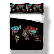 fashion 2018 new pattern words world map printing cotton bedding set 3pcs duvet coverset