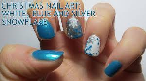 Christmas Nail Art: White, Blue and Silver Snowflake - YouTube