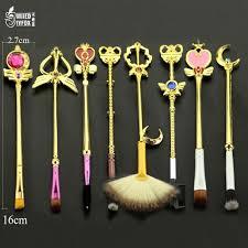 8 pc sailor moon jewelry makeup cosmetic brush set pincel maquiagem golden metal