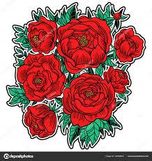 красивые руки Drawn векторные иллюстрации красные пионы идеально