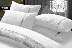 diamante teddy fleece bedding set