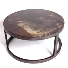 brown contemporary round iron coffee table hardwood unique stained varnished rustic old round coffee table ottoman