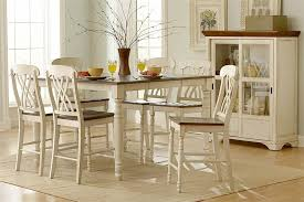 com ohana 7 piece counter height table set by home elegance in 2 tone antique white warm cherry kitchen dining