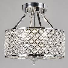 Chrome Flush Mount Ceiling Light New Legend Lighting Chrome Round Shade Crystal Semi Flush Mount Chandelier 4 Light Ceiling Fixture