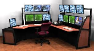 dual desk home office. stylish home office workstation super multi monitor desk setting dual